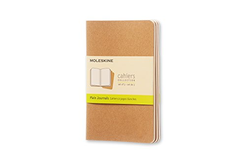 Moleskine Cahier Journal, Set 3 Quaderni con Pagina Bianca, Copertina in Cartoncino e Cucitura a Vista, Colore Marrone Avana, Dimensione Pocket 9 x 14 cm, 64 Pagine