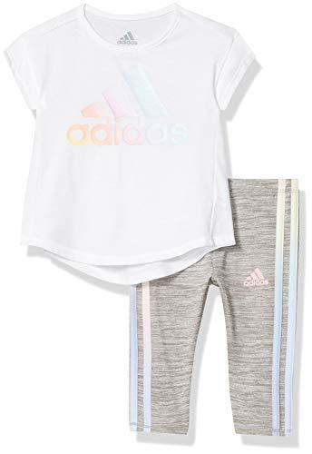 Adidas - Conjunto de ropa deportiva de manga corta para niña