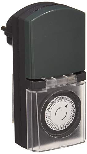 Electraline 59502 Programador Timer Diario para Uso Exterior IP44, Color Verde
