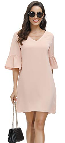BUENOS NINOS Women's Floral Dress V Neck Half Length Bell Sleeve Causal Loose Shift Mini Tunic Dress with Pockets (Nude Pink, 20)