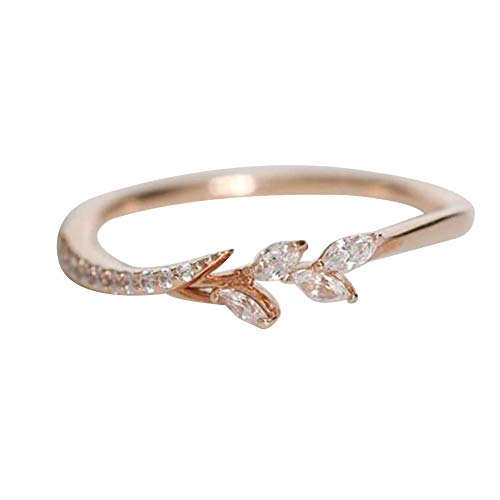 heDIANz Women Rings, Women Floral Finger Ring Bridal Engagement Jewelry Banquet, Gift Rose Gold 5