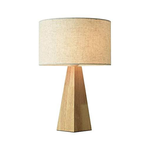NXYJD Lámpara de Mesa de Madera, Moderna lámpara de Mesa Rectangular Cortina de la Tela for el Dormitorio de la Sala de la Familia de la cabecera de Oficina, 360 de iluminación