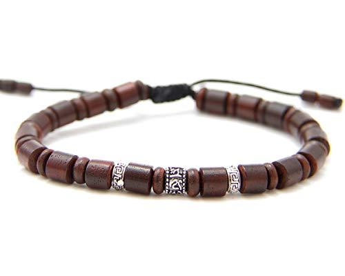 Agathe creation BP09112002 Bracelet tibetain Porte Bonheur - Signe Om tibétain - Bois Acajou et Argent 925 - Fait Main