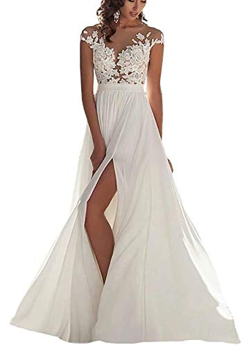 Women's Lace Bodice Illusion Cap Sleeve Wedding Dress with Slit Sexy Chiffon A-line Beach Bridal Gown Ivory US14