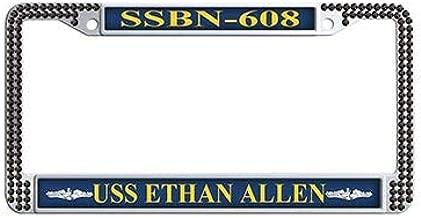 Dongsmer USS Ethan Allen SSBN-608 Car License Plate Holder Black Rhinestones Auto License Cover Holder