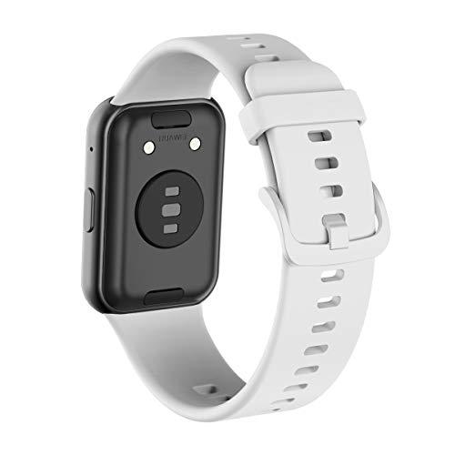 Pulsera para Huawei Watch Fit, suave silicona transpirable, resistente al agua, alternativa para reloj Huawei Watch Fit, color blanco