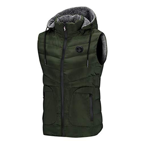 Vestes sans Manches pour Hommes Printemps Gilets Coton rembourré Thicken Gilets Green XL