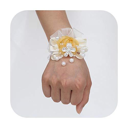 Art Flower Marfil Personalizado Perlas Muñeca Corsage Cristal Novio Boutonniere Boda Hecho a Mano Flor Rosa Dama de Honor Muñeca Corsage X978-Z-Oro Claro