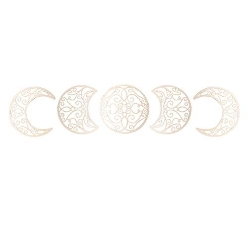 Decoración de Pared con Fase Lunar, Adhesivo de Pared de 5 Etapas Lunares Vacías, 3D Decoraciones de Pared de Madera, Fases Lunares para Colgar en la Pared, para Casa Dormitorio (Madera) 🔥