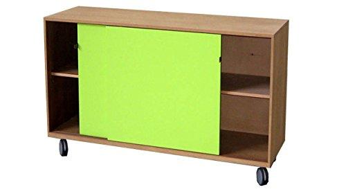 Buffet commode avec roulettes en bois avec 2 portes coulissantes Design moderne