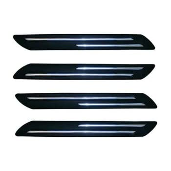 VRT® Rubber Car Bumper Protector Guard with Double Chrome Strip for Car 4Pcs - Black (Universal)