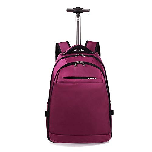 QINQIGBJ Wheeled Backpack, Large Rolling Backpack for Men Women,Oxford Cloth Boarding Travel Bag, Water Resistant Business Travel Carry on Luggage Suitcase Bag (Color : Purple)