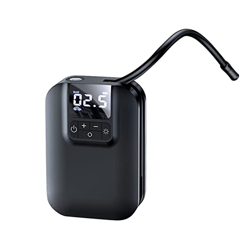 KWY Tyre Inflator, Portable Air Compressor 5000mAh Rechargeable Battery 150PSI, Car Tyre Pump With Led Light, Electric Pump For Car, Motorcycle, Bicycle And Ball