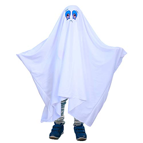Ghost Halloween Costume for Kids and Women Adults, Friendly Gown for Cosplay Role Play Halloween Child Fancy Dress Costume