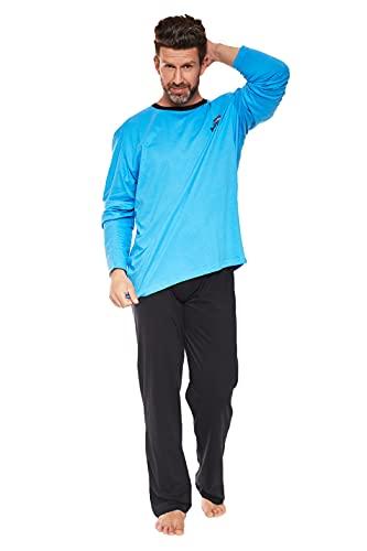Moonline Grande Pijama para Hombres, Hecho de algodón Suave, Azul Claro-Grande, Talla 3XL