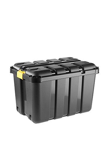 Tontarelli Box Porta-Attrezzi 79x52x52 lt130 Made in Italy Sistemazione, Nero/Ambra