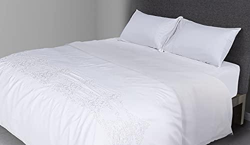 FLAX LINEN - Juego de funda de edredón de 4 piezas para cama de matrimonio de algodón egipcio orgánico de 400 hilos, incluye 1 funda de edredón + 1 sábana bajera + 2 fundas de almohada, color blanco