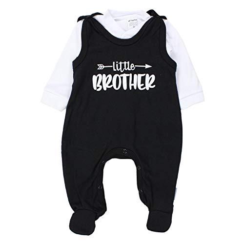 TupTam Baby Unisex Strampler-Set mit Aufdruck Spruch 2-TLG, Farbe: Little Brother/Weiß/Schwarz, Größe: 62