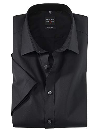 OLYMP LEVEL FIVE body fit halbarm New York Kent Kragen Uni schwarz 6090/12/68, schwarz, Gr. 41 (L)