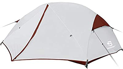 Bessport 2-3 Person Backpacking Tent Lightweight, Easy Setup 3 Season Camping Tent -Two Doors, Waterproof, Anti-UV Large Tent for Family, Outdoor, Hiking (2 Person-Burgundy)