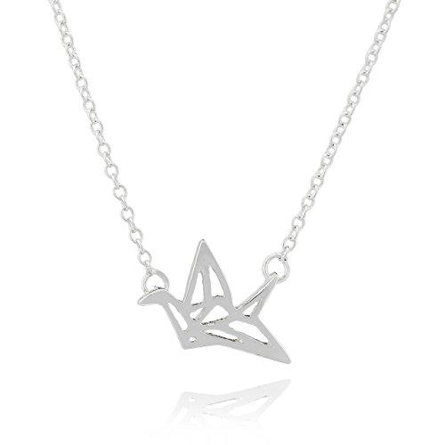 Collar Selia Diseño Cisne Crane Origami/Colgante Cisne de la Felicidad Origami estilo Minimalista