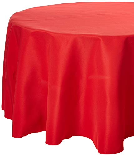 """Gee Di Moda Tablecloth - 90"""" Inch Round Tablecloths for Circular Table Cover in Red Washable Polyester - Great for Buffet Table, Parties, Holiday Dinner & More"""