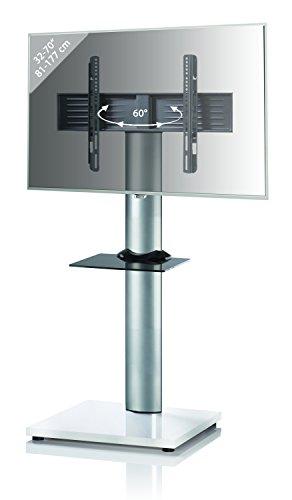 VCM TV-Standfuß LED Ständer Fernseh Standfuss Alu Glas Universal VESA Mobil Rollen Weißlack 54 x 68 x 130 cm