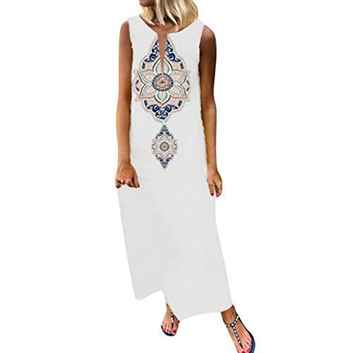 Damen Freizeitkleid äRmellose Kaftan Kleid Luftiges Kleid Florydays Kleider Leinenkleid Tuchkleid Blusenkleid BöHmische Print V-Ausschnitt Seite Schlitz Kleider Shift Boho Maxi Kleid Y-Weiß-3 5XL
