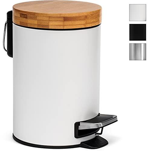 3l Cubo cosmético de diseño | Tapa de Madera de bambú con Sistema de Descenso automático | Cubo de Pedal con antihuellas...
