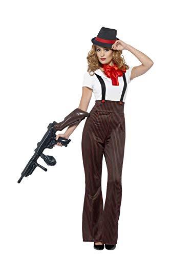 Smiffys-24635S Disfraz glamuroso de gángster, con Parte de Arriba, pantalón, fals, Color Negro y Rojo, S-EU Tamaño 36-38 (Smiffy