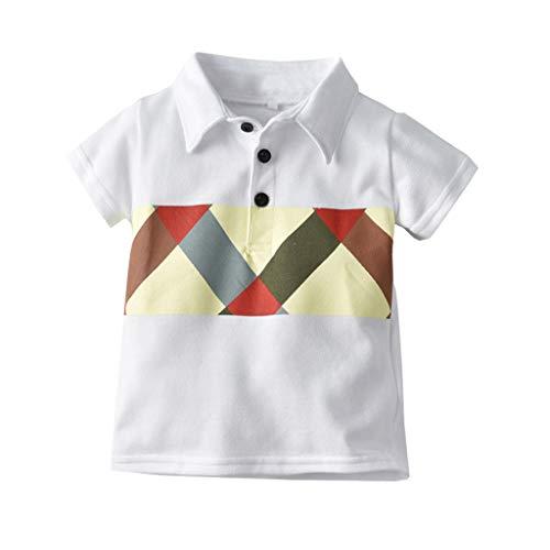 Julhold Peuter Baby Jongens Mode Knappe Korte Mouw Gentleman Geometry Print Slim T-Shirt Tops Kleding 0-4 Jaar