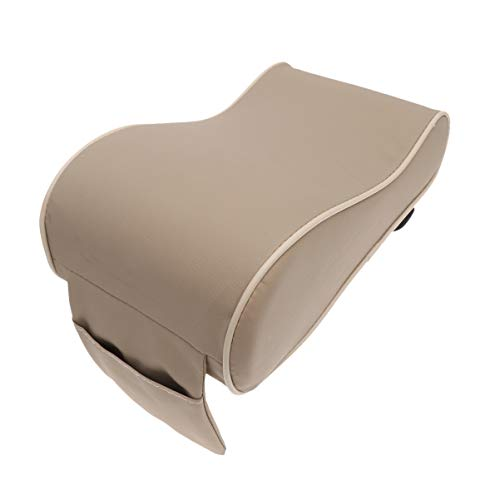 WINOMO Car Center Console Cushion Universal Soft Leather Auto Armrest Pad Rest Pillow Mat (Cream Coloured)