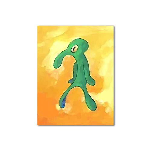Bold and Brash Squidward Wandbilder für Schlafzimmer, schöne Wanddrucke, gelbe Leinwand, Wandkunst für Badezimmer, wasserdicht, Geschenk für Jungen, Heimdekoration, Küchendekoration, gelb, 16 x 20