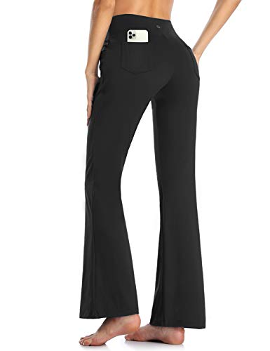 MOVE BEYOND Pantalones de Yoga para Mujer de con 4 Bolsillos Pantalón de Pilates de Cintura Alta Yoga Gimnasio Running Training, Negro, XL