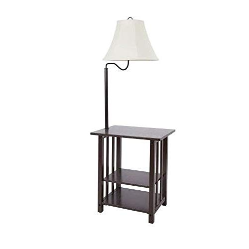 Combination Floor Lamp End Table with Shelves