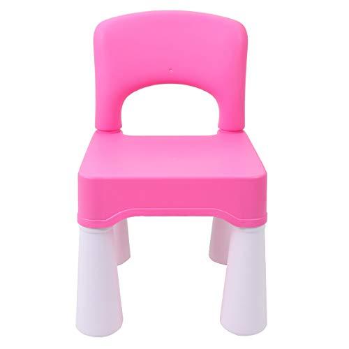 burgkidz Kunststof stoel, kinderstoel meisjes met rubberen voeten tot 100 kg, kinderstoel prinses zitplaatsen met rugleuning voor kinderen, roze