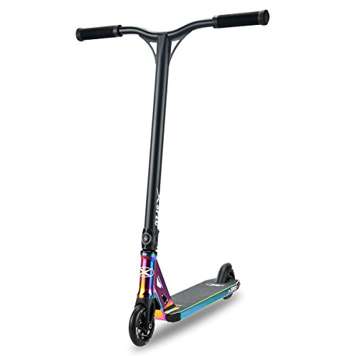 Xspec Rainbow Neo Chrome Pro Stunt Kick Scooter, Unique Oil Slick Anodized Design, BMX Handlebars w/Reinforced Aluminium Wheels and Fork