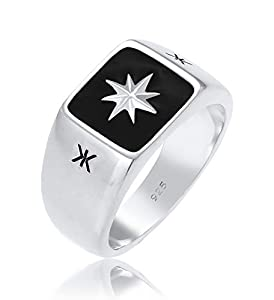 Kuzzoi Siegelring Herrenring, massiv 11 mm breit in 925 Sterling Silber, Oberfläche Emaille schwarz mit Stern Design, Ring für Männer in der Ringgröße 54, 0601112320_54