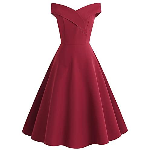 pamkyaemi Vestido de verano para fiestas y fiestas, hasta la rodilla, sin mangas, con péndulo grande, elegante, 2021, estilo de moda, rockabilly, retro, para cóctel, fiesta rojo XL