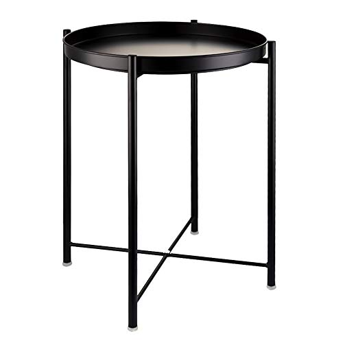 EKNITEY End Table,Folding Metal Side Table Waterproof Small Coffee Table Sofa Side Table with Removable Tray for Living Room Bedroom Balcony and Office (Black)