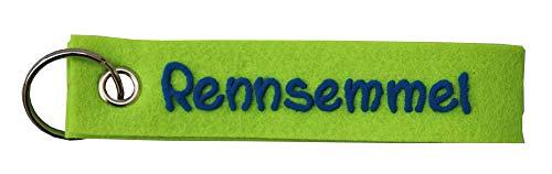 Schlüsselanhänger apfel - grün aus Filz Spruch Rennsemmel personalisiert - Geschenk mit Wunschbeschriftung - Filzband mit Name