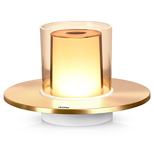 Lámpara de Mesa LED, Lamparas de Mesita de Noche AGM Control Tactil Lámpara de Tabla LED, 4 Brillo Luz Ambiental Recargable USB, Para Cena Con Velas | Dormitorio | Bar | Estudio, Similar Candelero.
