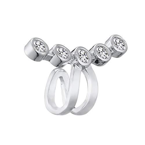QIAMNI Pendientes minimalistas de platino con circonita cúbica, para cartílago, sin perforación, para mujeres y niñas