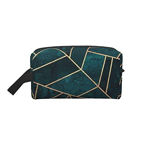 Bolsa de maquillaje Bolsa de viaje cosmética verde esmeralda de naturaleza abstracta Bolsa de aseo grande Organizador de bolsa de maquillaje portátil