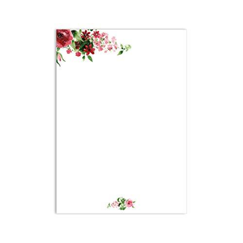 Briefpapier Set Rose I 50 Blatt Motiv-Papier in DIN A4 rosa rot hell-grün I vintage Blume I Frühling Einladung Geburtstag Valentinstag Liebe I dv_017