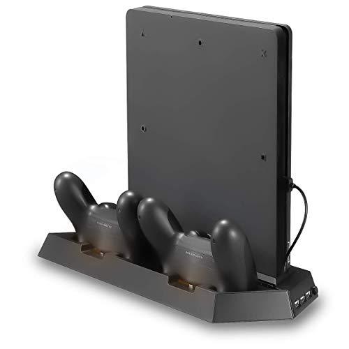 Playstation 4 y PS4 Slim Soporte de ventilador de refrigeración vertical con 2 controladores Dualshock Puertos de carga y 3 Hub USB