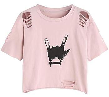 SweatyRocks Women s Short Sleeve T Shirt Graphic Print Distressed Crop Top Gesture Light Pink Small