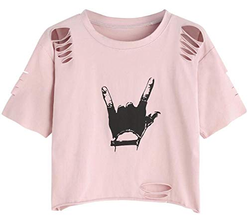 SweatyRocks Tshirt Camo Print Distressed Crop T-shirt Pink M