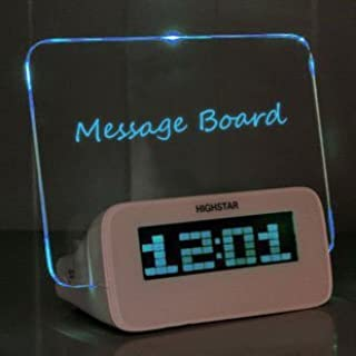 BXT Creative Erasable Memo Board Fluorescent Light Message Board LED Digital Alarm Clock USB 4 Port Hub With Thermometer Calendar Snooze Gift