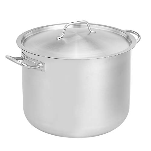 AmazonCommercial 24 Qt. Stainless Steel Aluminum-Clad Stock Pot with Cover